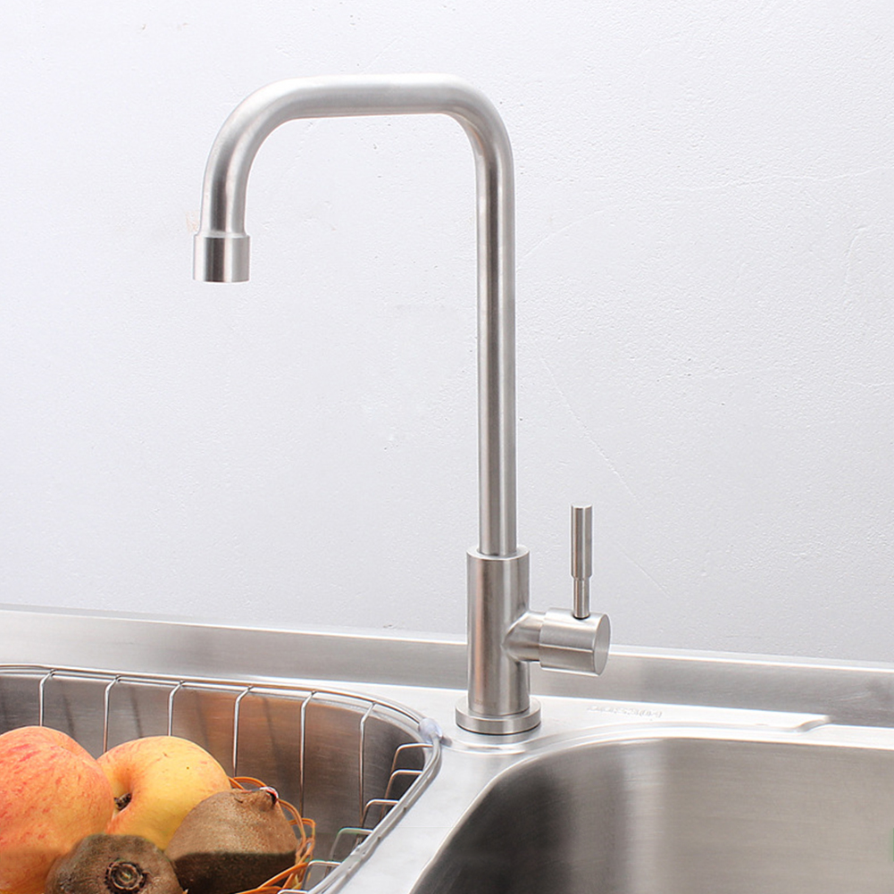 Stainless Steel Hot Cold Water Faucet for Kitchen Vegatable Basin Sink Tap Silver