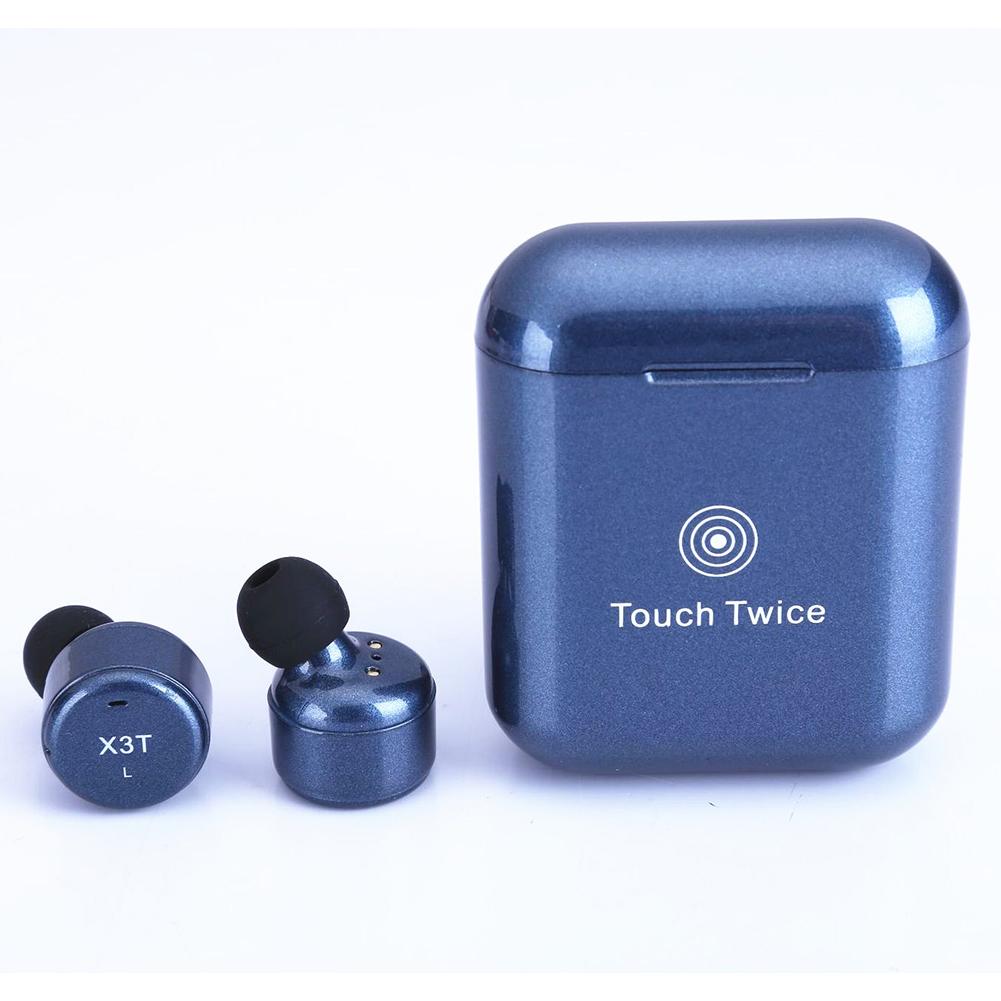 X3T Touch Control Wireless Bluetooth Headphones Universal HIFI Earphones Portable Mini Headset with Charge Box  Dark blue