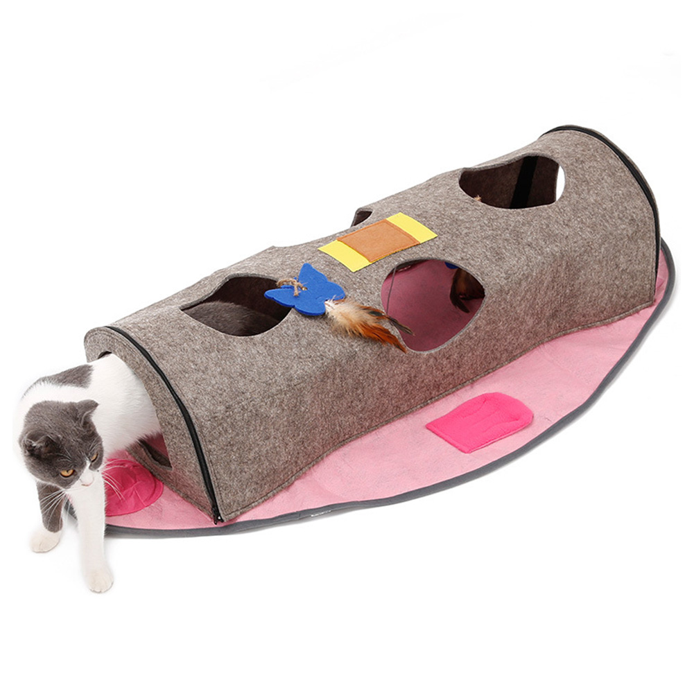 Multifunctional Cat's Nest Tunnel Foldable Fish-shaped Pendants Warmth Playing Cat Supplies Pink_105*61*22CM
