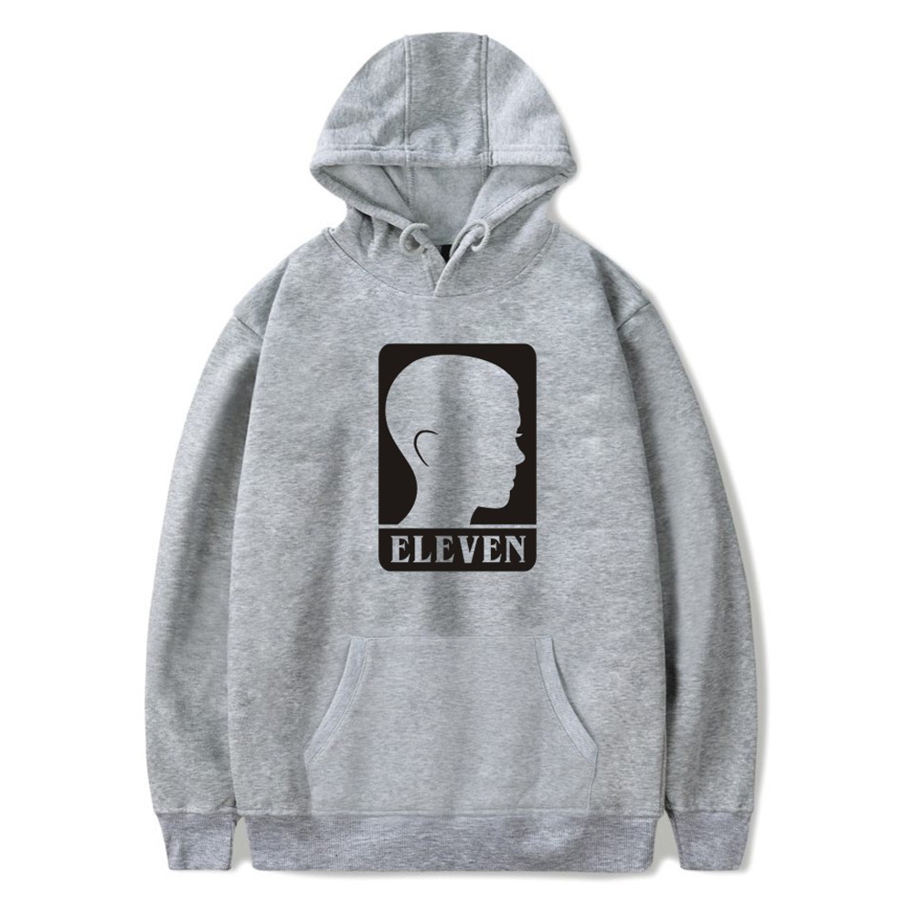 Men Fashion Stranger Things Printing Thickening Casual Pullover Hoodie Tops gray-_L