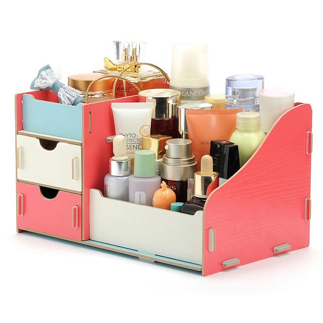 Wooden Makeup Cosmetic Organizer Desktop Storage Box Rack 27.5*17 *13.5cm Stitching