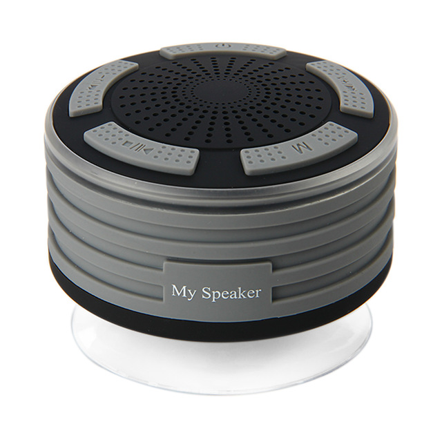 Shower Speaker Waterpoof IPX7 Portable Wireless Bluetooth Speakers with Radio Suction Cup LED Mood Lights dark grey