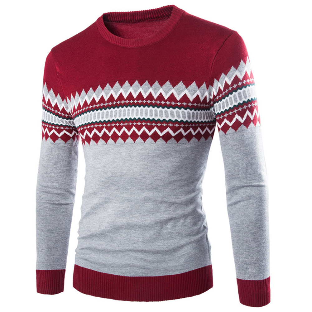 Slim Pullover Long Sleeves and Round Collar Sweater Floral Printed Base Shirt for Man red_M