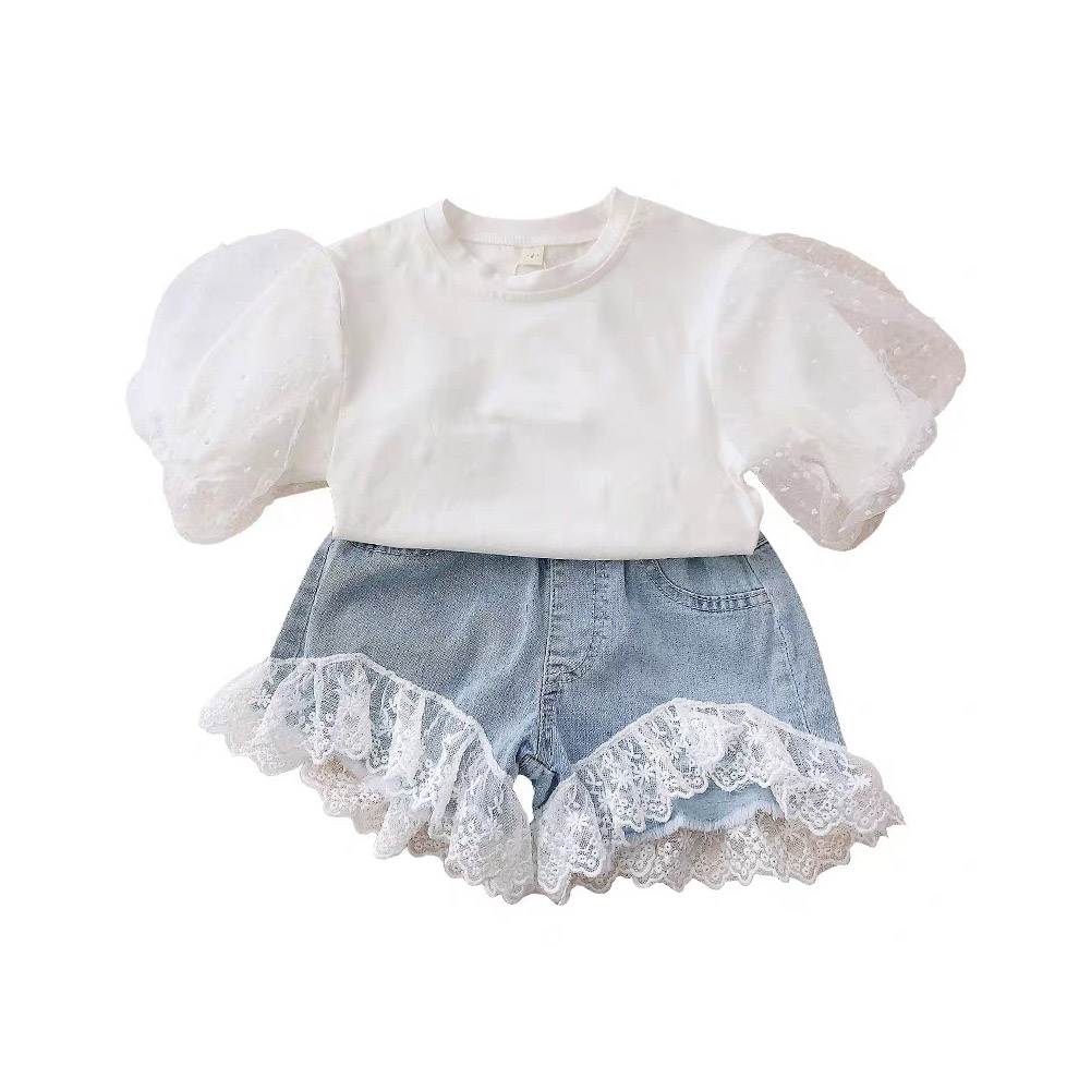 2 Pcs/set  Girls Suit Puff-sleeve Top + Lace Stitching Denim Shorts for 3-8 Years Old Kids white_110