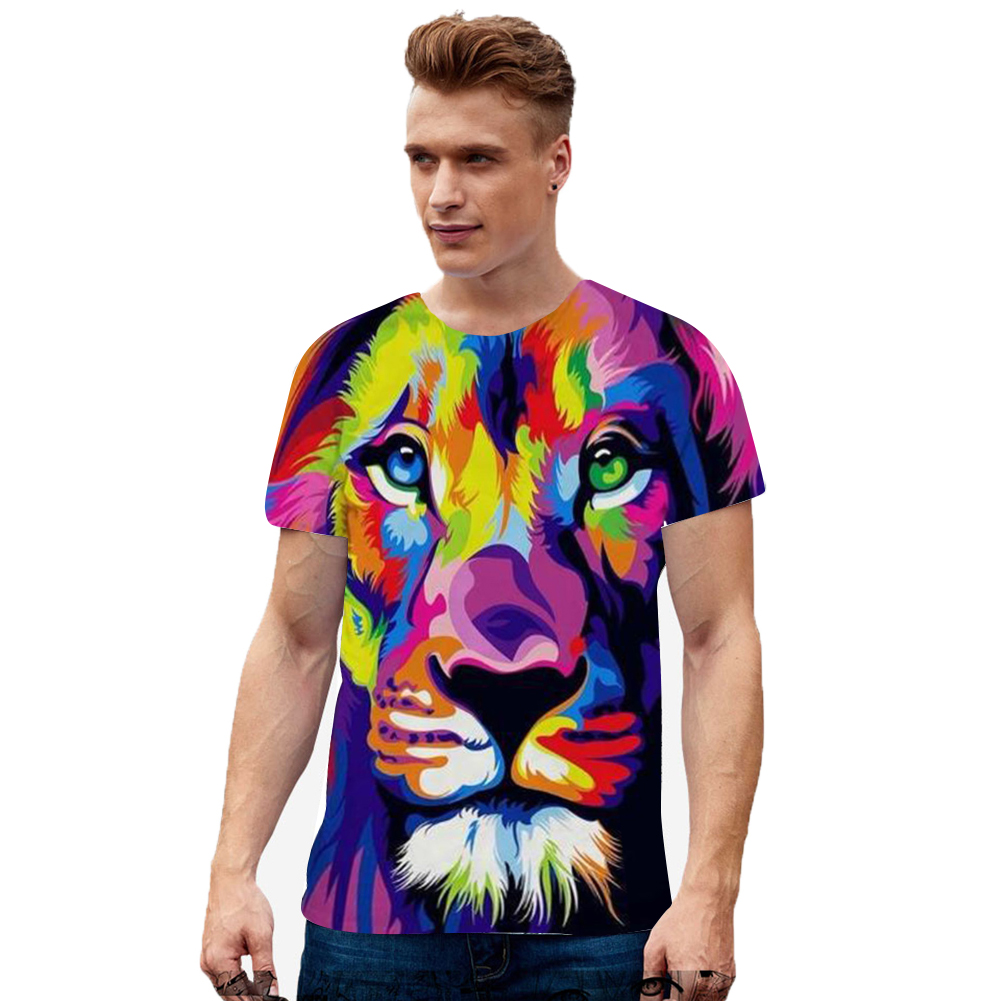 Men Women Digital 3D Printing Hi-Hop T-shirt white_L