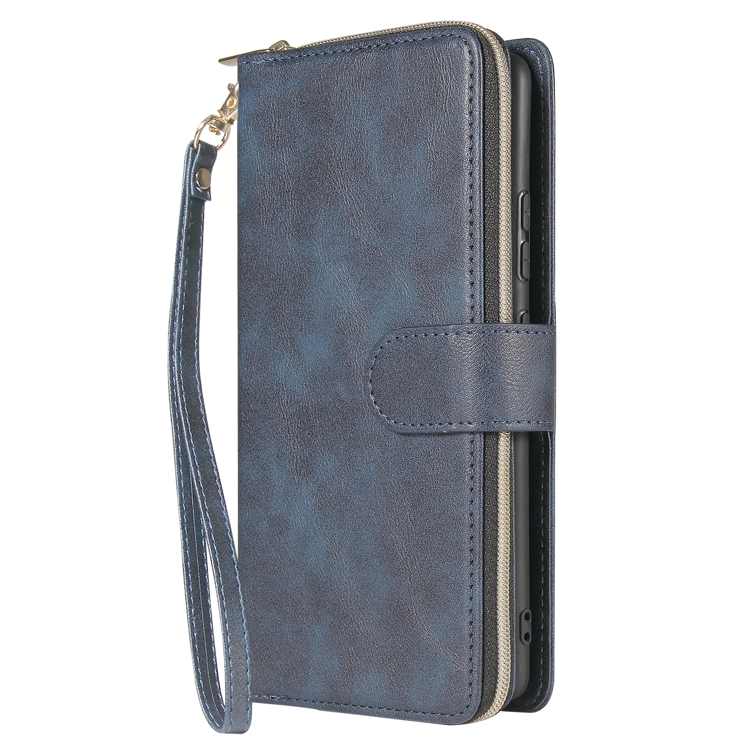 For Samsung S10/S20/S10E/ S10 Plus Pu Leather  Mobile Phone Cover Zipper Card Bag + Wrist Strap blue