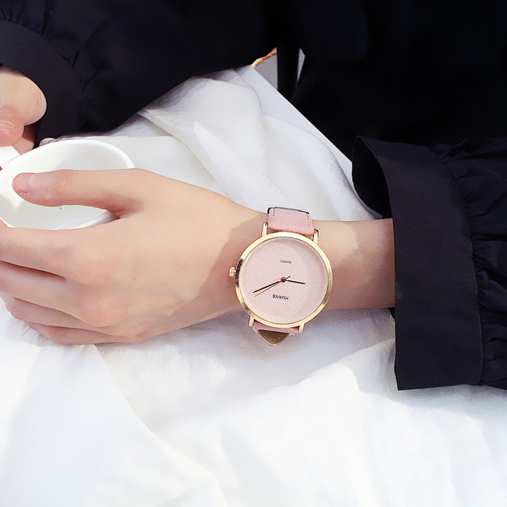 [Indonesia Direct] Simple Casual All-match Quartz Watch for Couples Confidante pink L