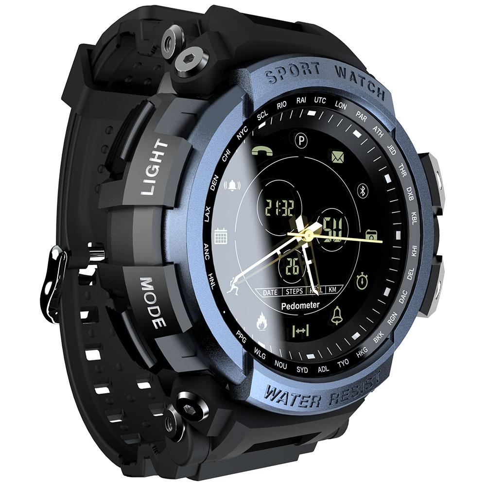 MK28 Smart Watch Waterproof Pedometer Reminder Fitness Tracker Bluetooth Smartwatch 12 Months Standby Blue