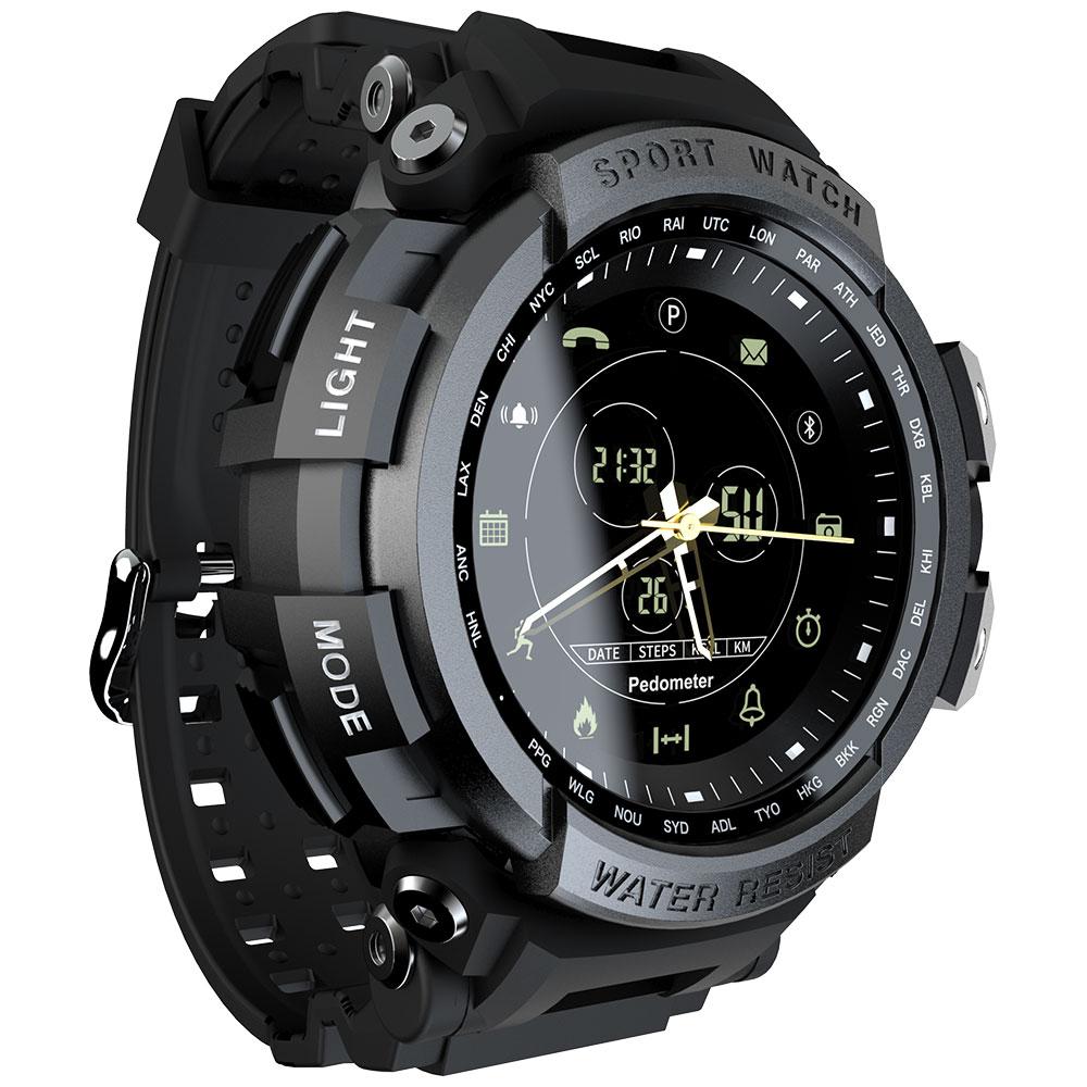 MK28 Smart Watch Waterproof Pedometer Reminder Fitness Tracker Bluetooth Smartwatch 12 Months Standby Black
