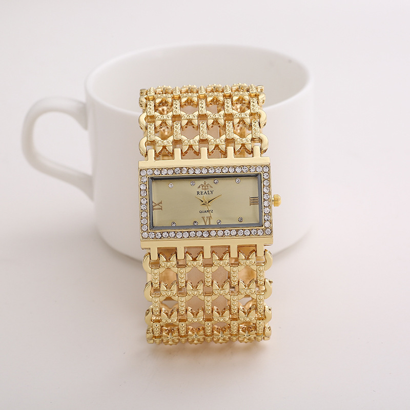 [Indonesia Direct] REALY Women's Quartz Diamond Case Alloy Bracelet Square Watch with Super Thin Hollow Strap Gold