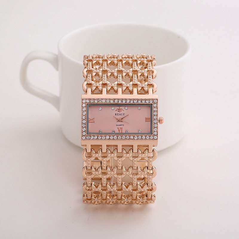 [Indonesia Direct] REALY Women's Quartz Diamond Case Alloy Bracelet Square Watch with Super Thin Hollow Strap Rose gold