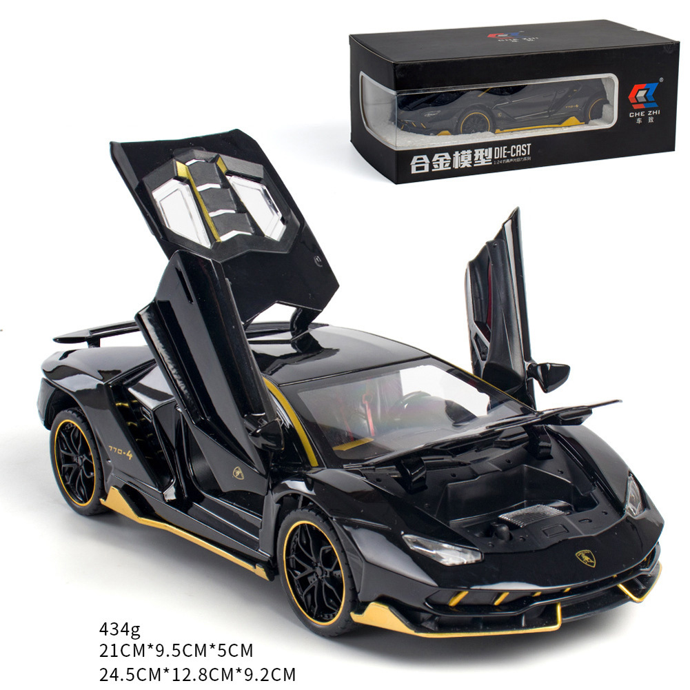 Simulate 1:24 Alloy Sports Car Model Toy for Lamborghini LP770 black