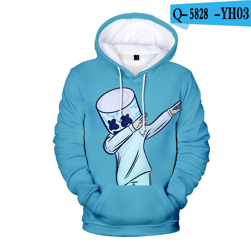 Men Women DJ Marshmello Fans 3D Print Small Happy Face Long Sleeve Sport Hoodies Sweatshirt V style_XXL