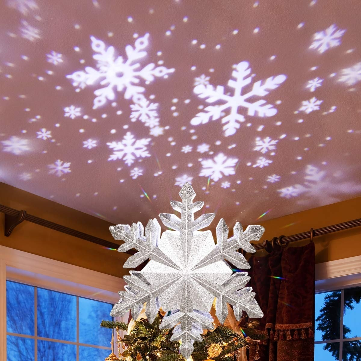 LED 3D Snow Flower Projector Light for Christmas Tree Topper Lighted Rotating Xmas ecoration European plug