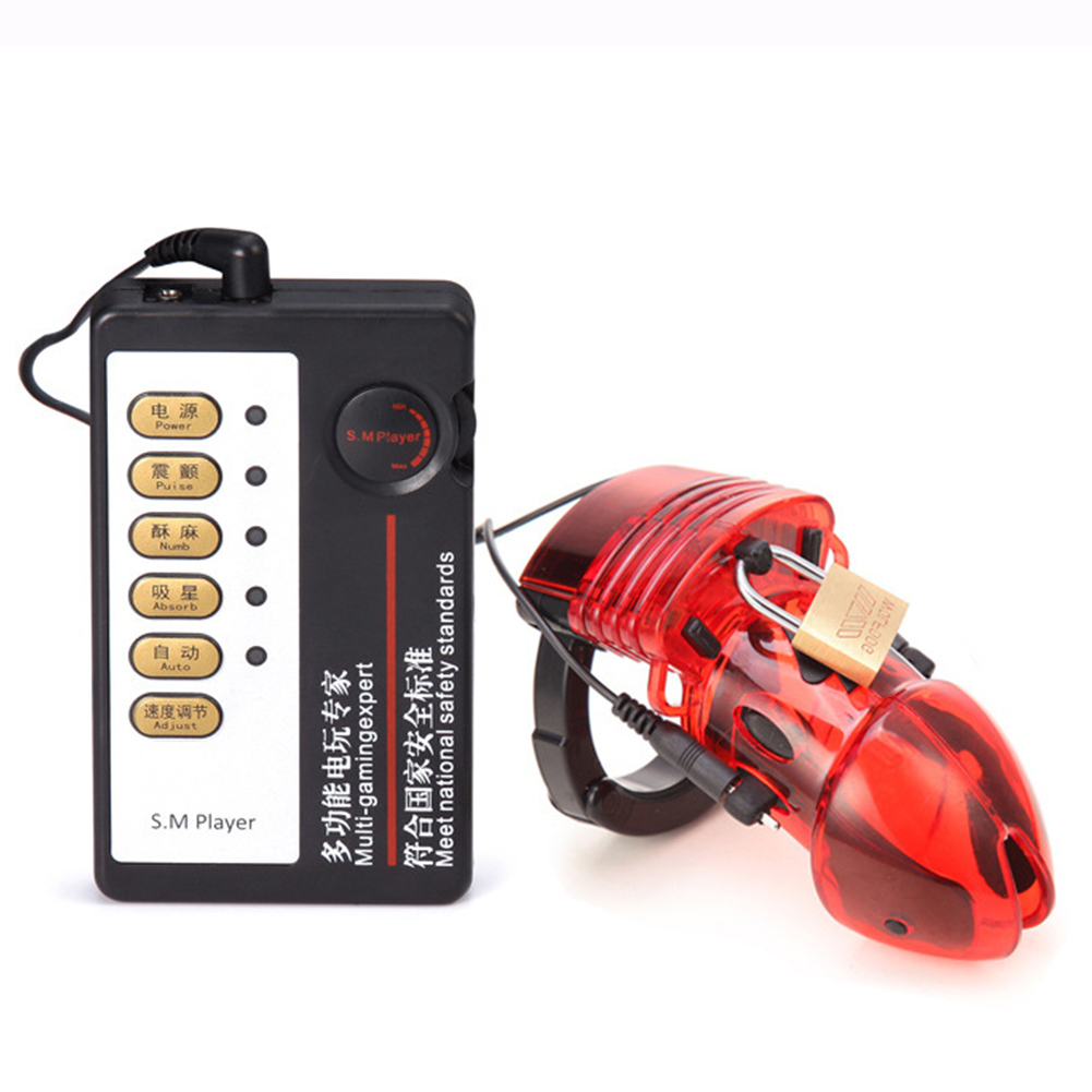 Man Electro Shock Chastity Cage Penis Sleeve Adult Sex Toys Male Electric Cock Ring Device Red Cage + host + 2*Wires