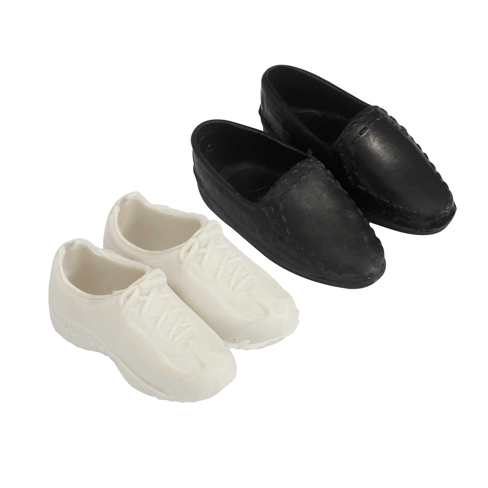 [EU Direct] 2 Pairs Mini Toy Shoes White Sports Shoes and Black Shoes for Ken Doll