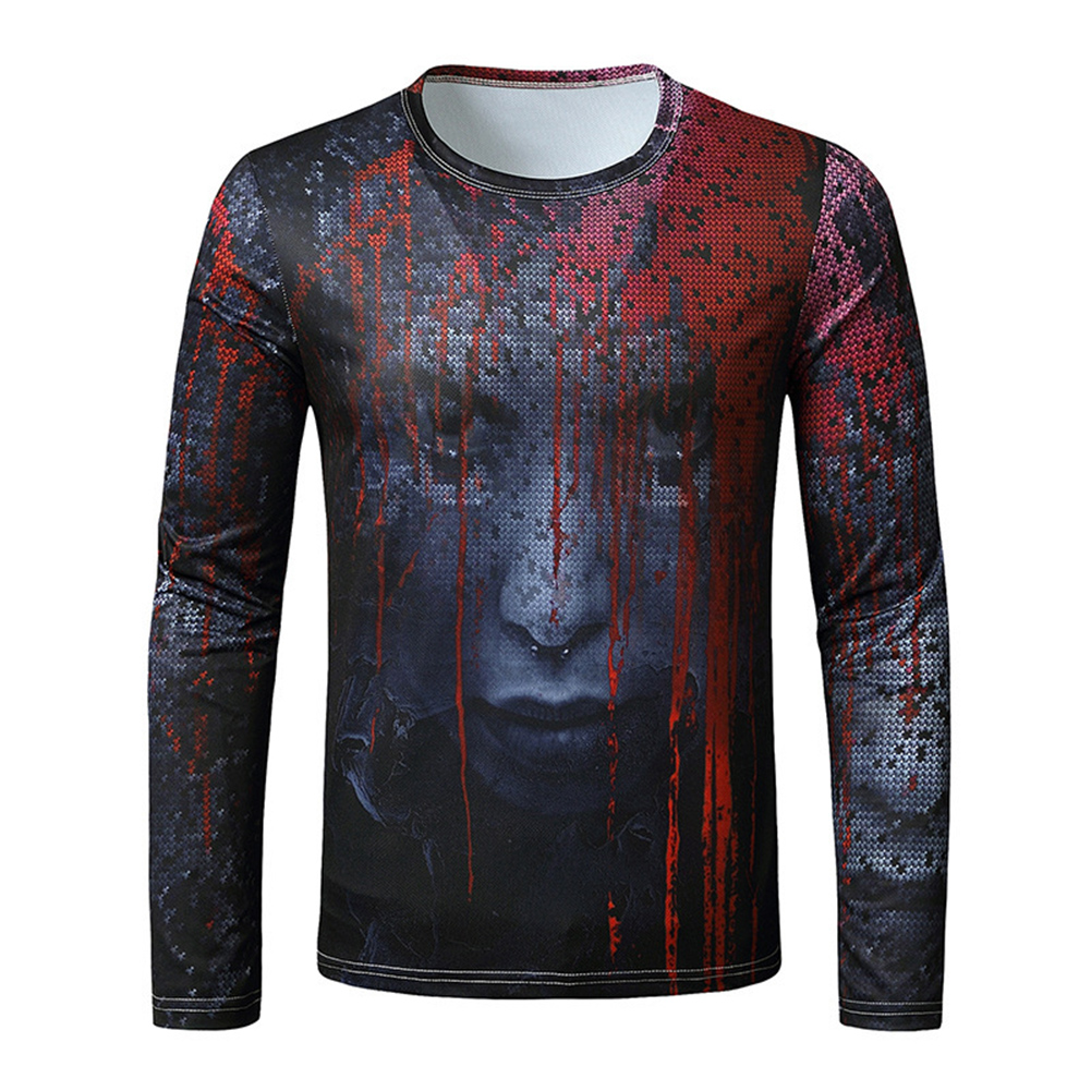 Men Long-sleeved Shirt Round Neck 3D Digital Printing Halloween Series Horror Theme Long Sleeved Shirt Black_M