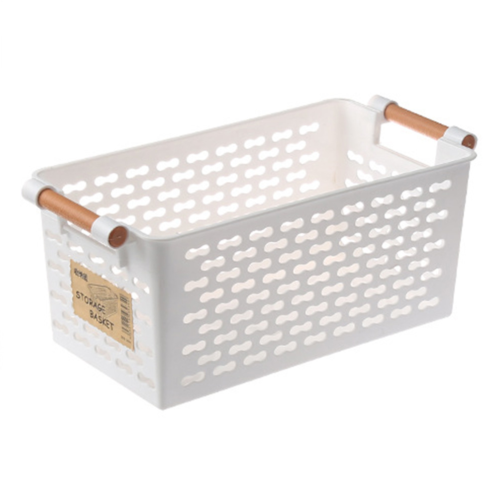 Rectangular Storage Basket with Handle for Tabletop Snacks Fruits Kitchen Organize white