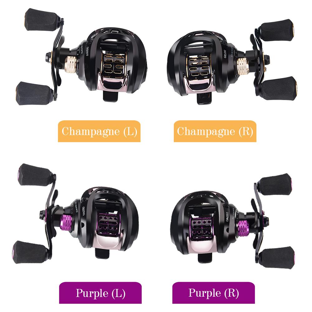 Low-Profile Reel Baitcasting Reel 6+1BB High Speed Ratio  Lure Reel Fishing Tackle GB2000 Purple (right hand)