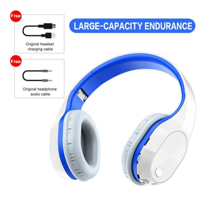 T5 Wireless Headphones Foldable Running Gaming Bluetooth Headset with Microphone White blue_English version