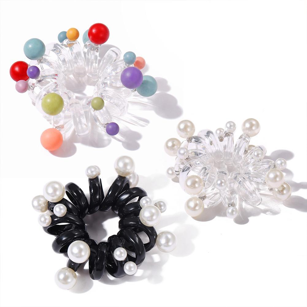 3 Pcs/set Hair Rope Resin Pearl Geometric Hair Accessories