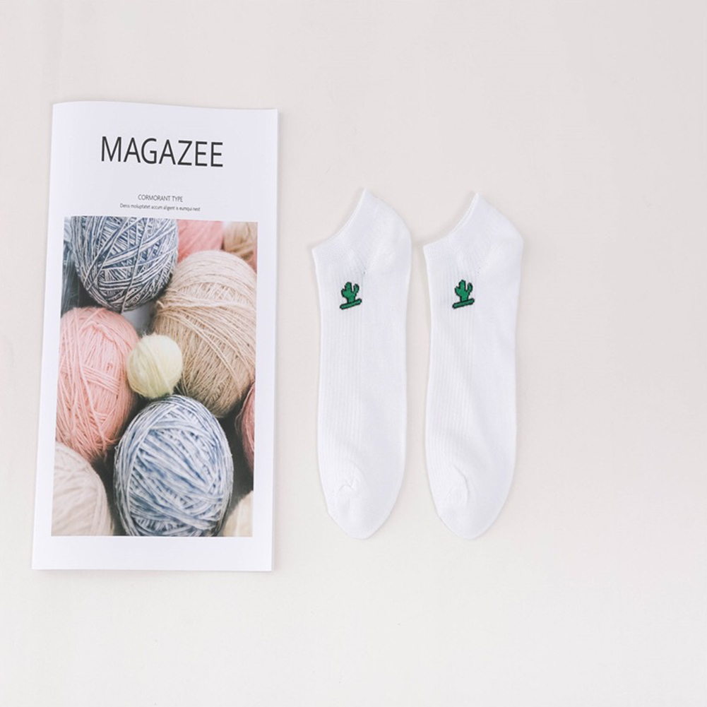 Lovely Shallow Boat Socks Sweet Girls Cotton Low Cut Short Socks with Cartoon Pattern Decor cactus_Have a paper card