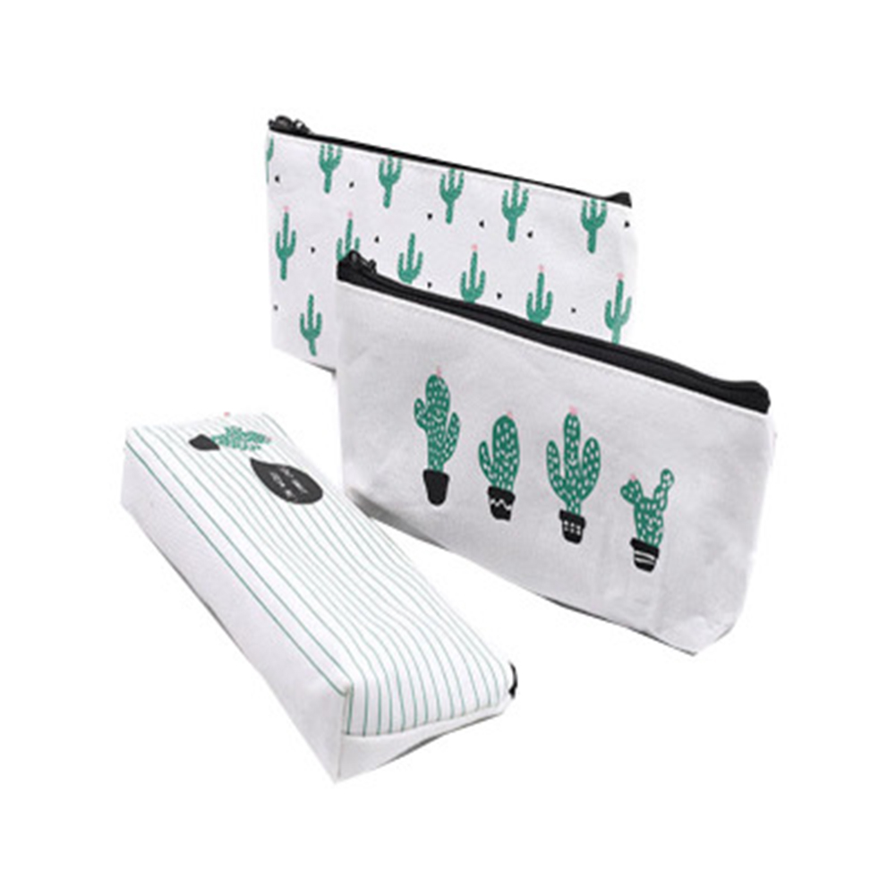 Lovey Canvas Cactus Pencil Cases Office School Supplies Single cactus