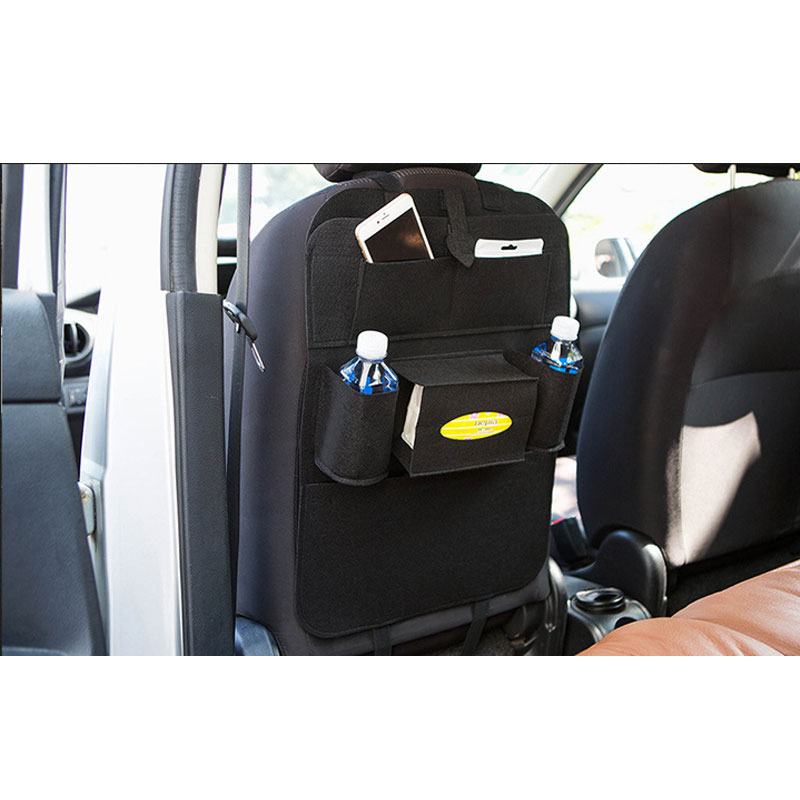 Car Back Seat Felt Multi Pocket Hanging Storage Bag Organiser Car Seat Back Bag Auto Travel Holder Car Accessories black_1 pc