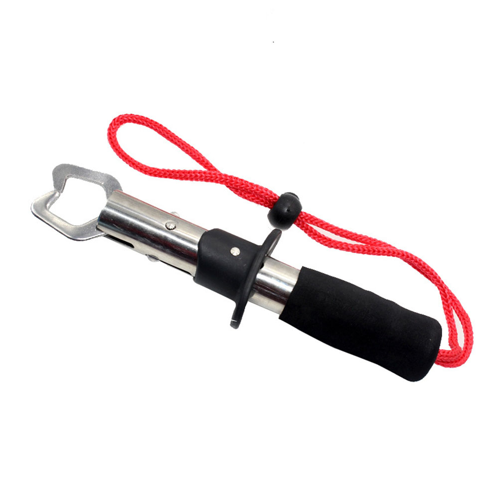 Stainless Steel fish Gripper Fish Lip Control with Weight Scale Ruler Fishing Tool Carp Fishing Clamp Clip Tackles Red rope straight handle fish control
