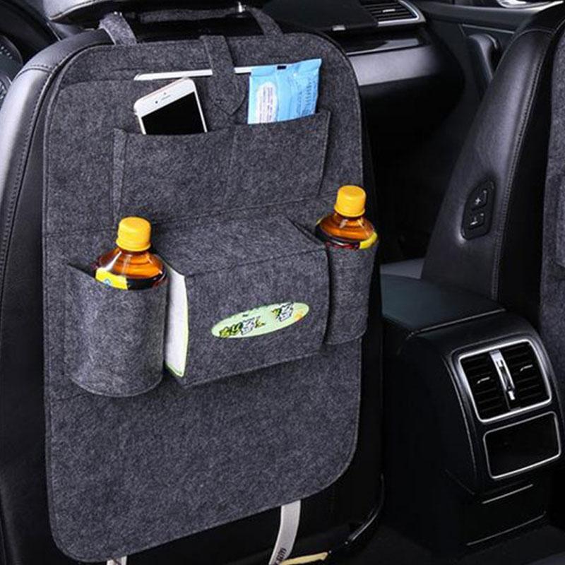 Car Back Seat Felt Multi Pocket Hanging Storage Bag Organiser Car Seat Back Bag Auto Travel Holder Car Accessories Dark gray_1 pc