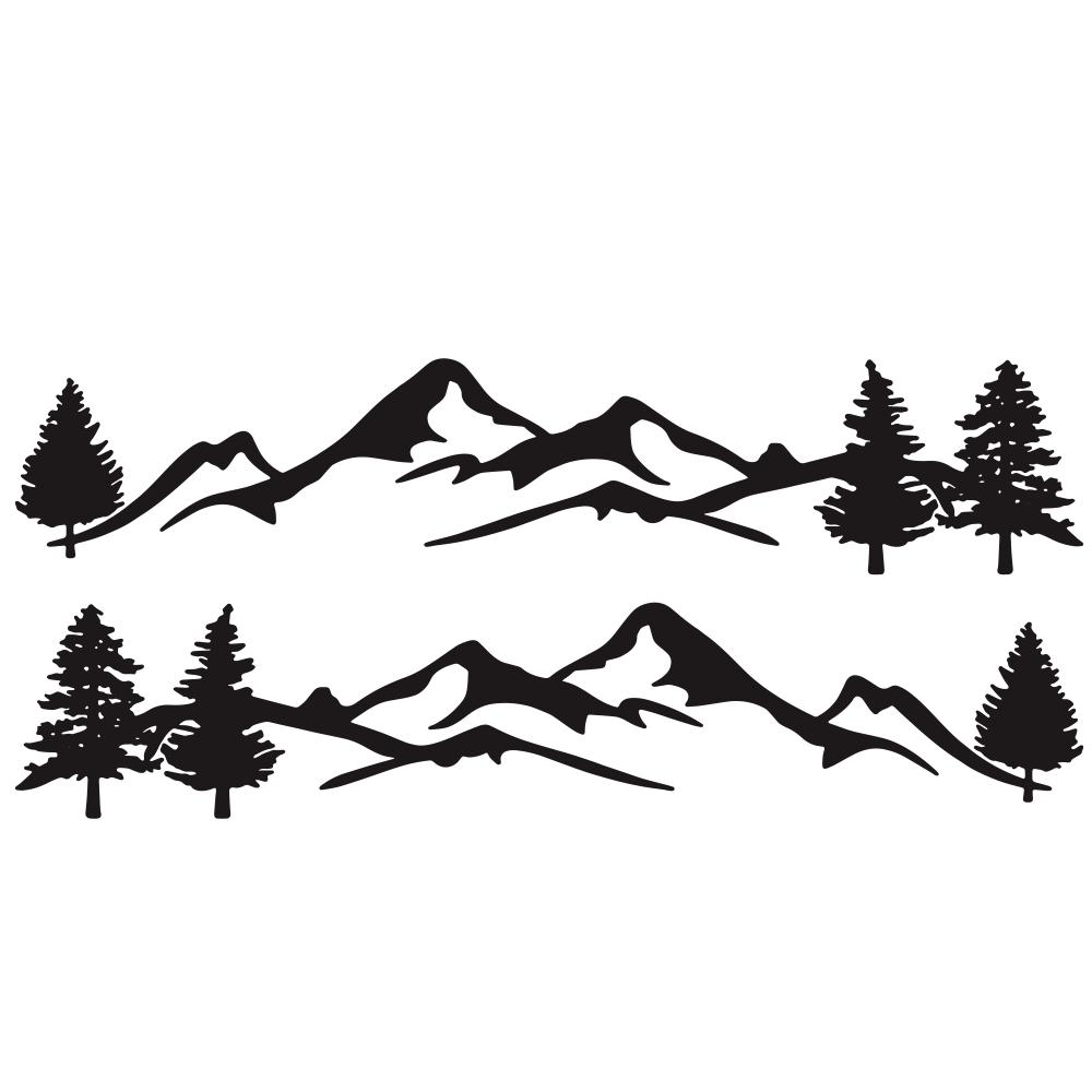 Mountain Tree Forest Graphic Vinyl Art Sticker for RV Decoration Forest Silhouette Decals Camper Vehicle Window Door Decoration black