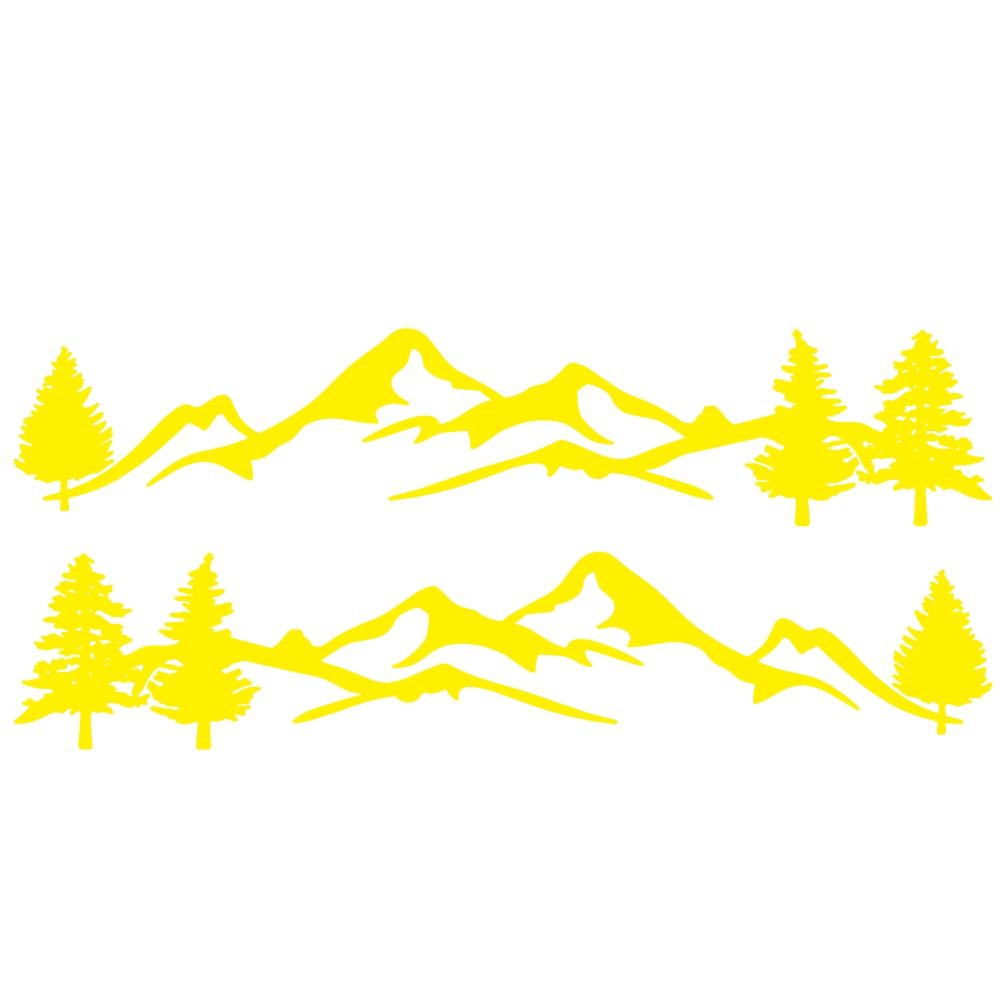 Mountain Tree Forest Graphic Vinyl Art Sticker for RV Decoration Forest Silhouette Decals Camper Vehicle Window Door Decoration yellow