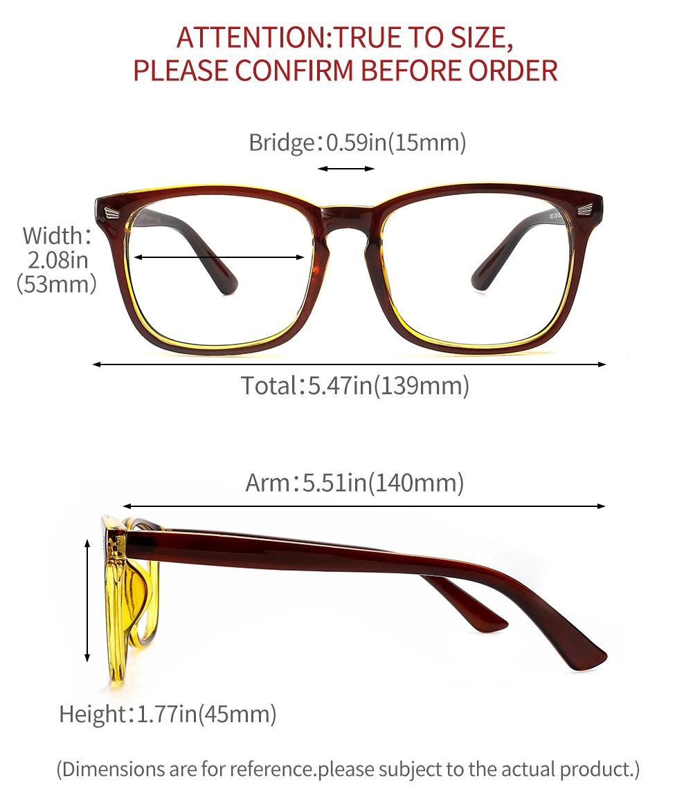 [US Direct] Cyxus Anti Blue Light Computer Glasses for Blocking UV Eye Strain Headache, Reading Eyewear (8065T01, Bright Black) Block Droplets Brown Tea Yellow_M
