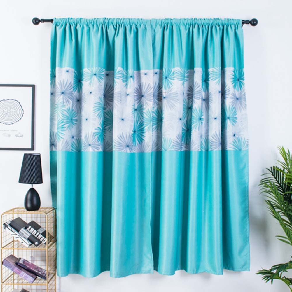 1pc Modern Shading Curtains with Chrysanthemum Pattern Kids Thick Curtain for Living Room Bedroom Kitchen Window blue_1m wide x 2m high pole
