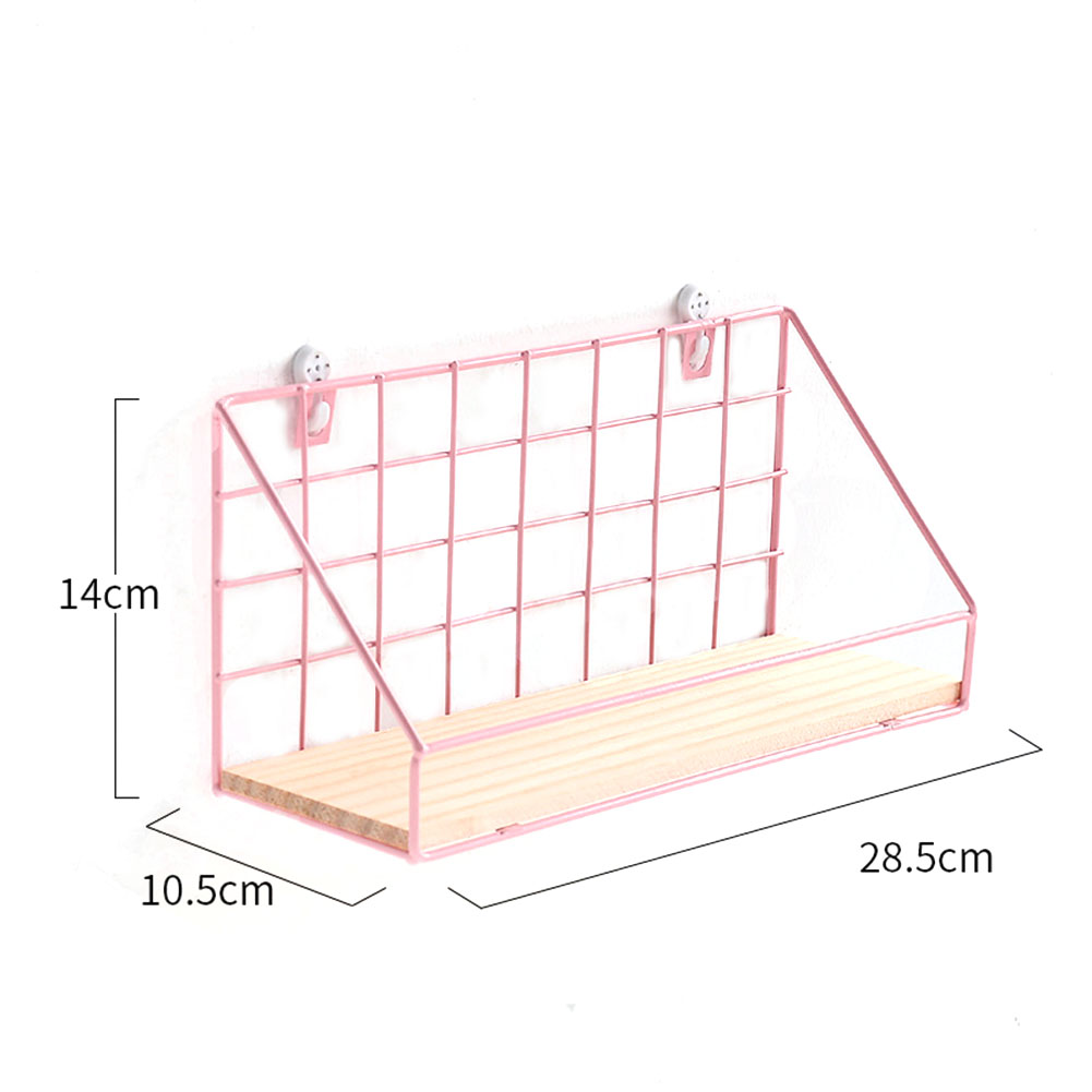 Wooden Iron Art Wall Hanging Storage Rack Home Decor Pink