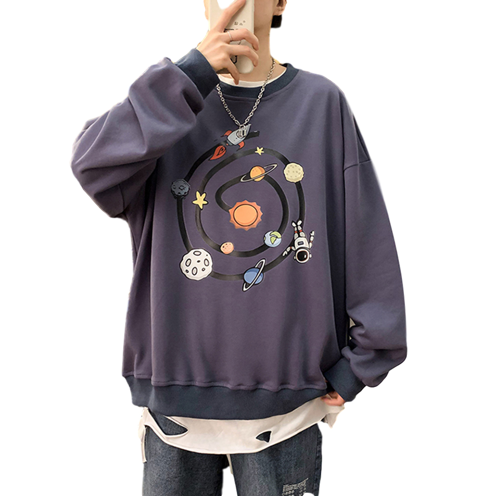 Men Round Collar Loose Handsome Leisure Tops Lovers Printed Long Sleeve Pullovers Dark blue _L