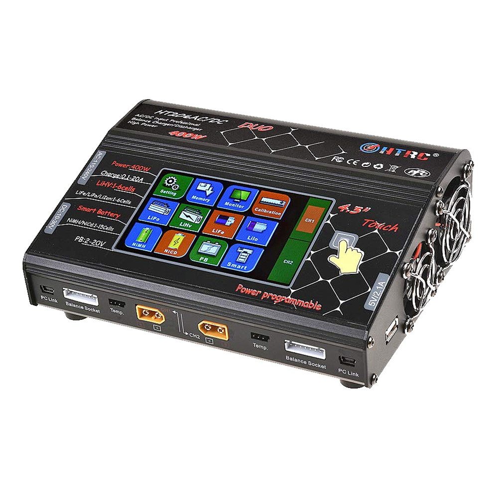HTRC HT206 RC Battery Charger 4.3inch LCD Touch Screen Balance Discharger AC/DC 3X200W 3X20A AU Plug