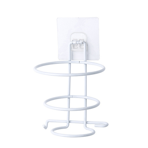 Simple Wall Hanging Hair Dryer Rack for Storage Bathroom  white