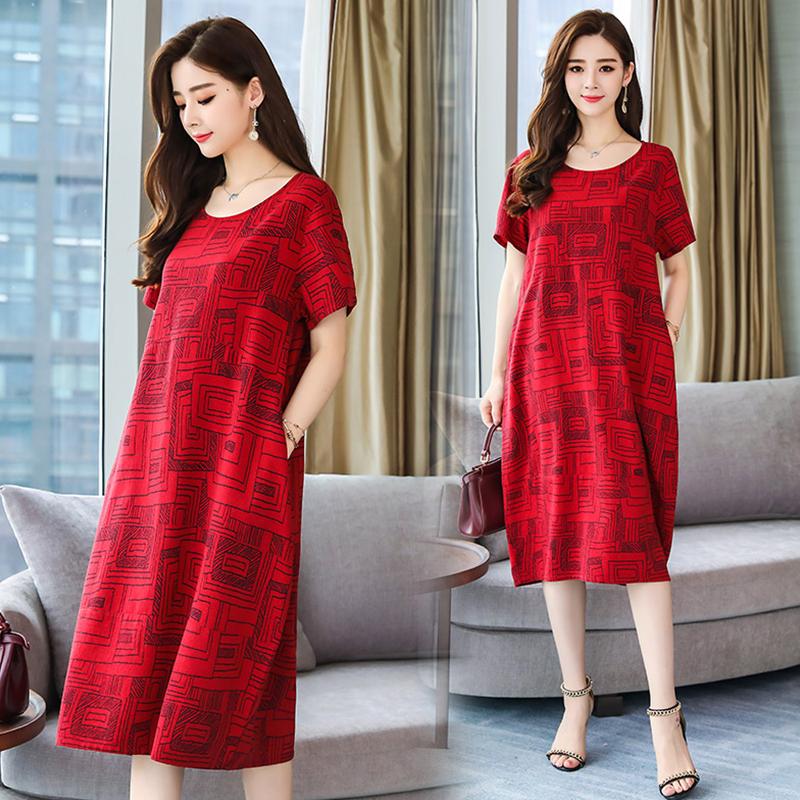 Women Summer Round Collar Loose Short Sleeve Printing Dress red_3XL
