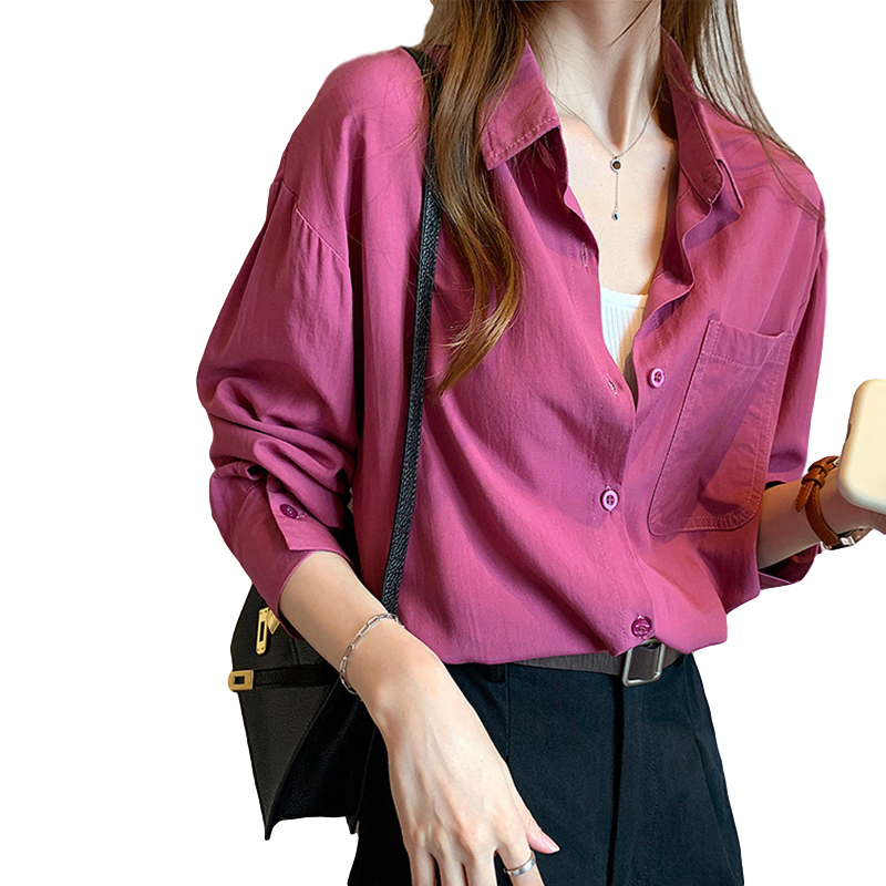 Women's Blouse Spring and Autumn Solid Color Loose Long Sleeve Shirt red_M