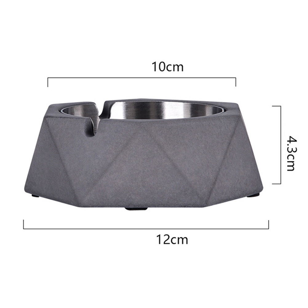 Stainless Steel Nordic Geometric Ashtray for Bar Internet Cafe Office Dark gray_12 * 10 * 4.3cm
