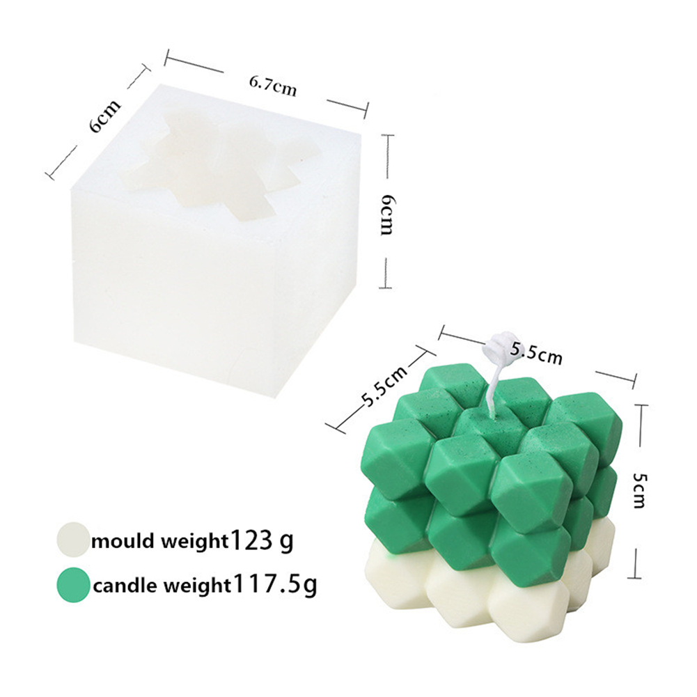 Silicone Magic Round  Cube Shaper Candle Mould Mutilayer Diy Mold For Cake Bakery Candle White_6*6.7*6cm-Drilled Magic Cube
