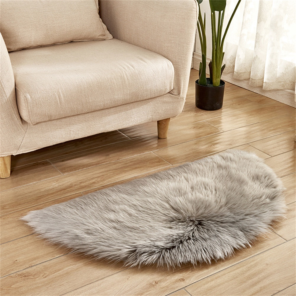 Semi-circle Plush Round Area Rugs for Kids Girls Room Carpet Nursery Rug Bedroom Living Room Floor Carpet  light grey_30*60cm