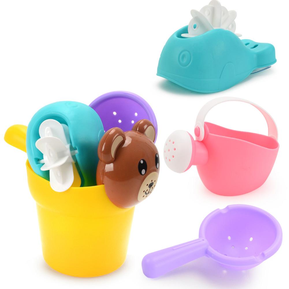 Soft Silicone Beach Toys for Children SandBox Set Kit Bucket Shovel Kettle 4 piece set (bear pot)
