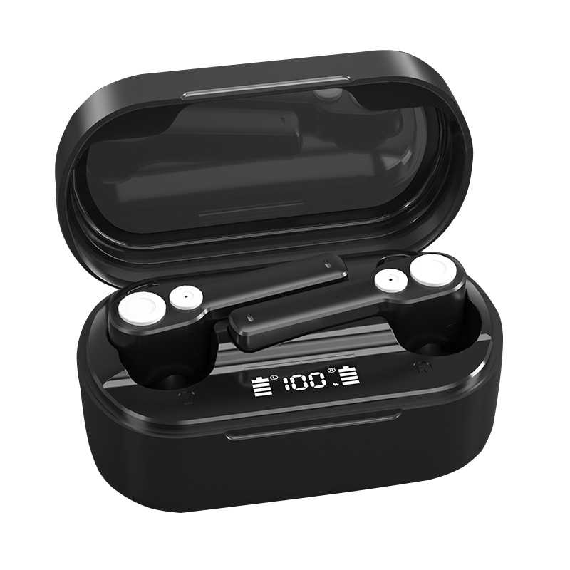 Bluetooth Headset Dual-moving Coil Heavy Bass Noise Reduction Wireless Tws Sports Headphone black