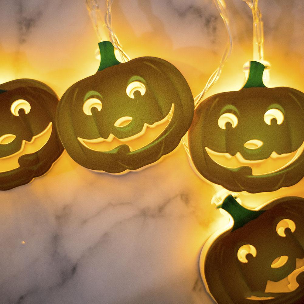 Halloween Decoration LED Iron Art 3M 10 LED Garden Home Fairy Hanging String Lights Halloween Decor Iron Pumpkin