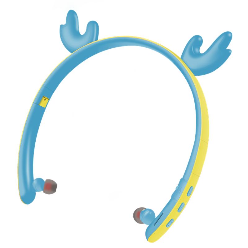 Creative LED Cartoon Luminous Elk Ear 5.0 Foldable In-ear Wireless Bluetooth Headset blue