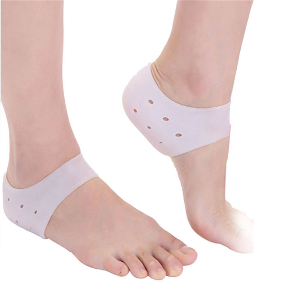 Moisturizing Silicone Heel Protective Socks with Breathable Holes Anti-shock Foot Protectors Cracked Foot Skin Care Soft  White_Free size