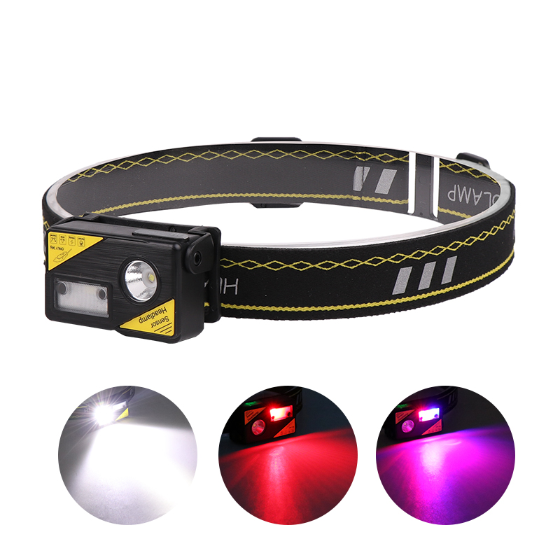 LED Gestures Induction Cap Clip Light USB Rechargeable Waterproof Flashlight black_Model K180