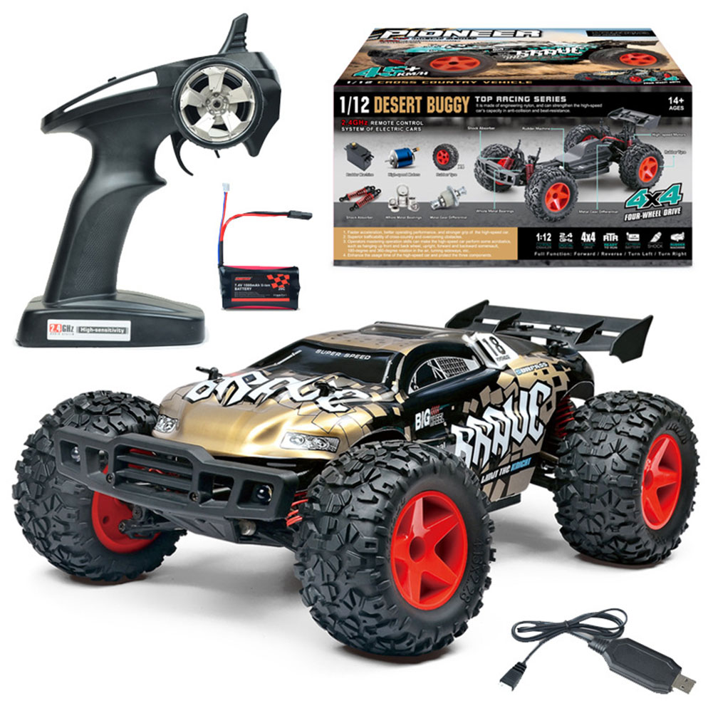 Remote Control Bg1508 Upgrade Four-Wheel Drive Charging Wireless Drift Racing 1:12 Modeling Car Toy Golden_1:12